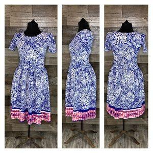 LuLaRoe Amelia Blue Pink Short Sleeve Dress SZ S